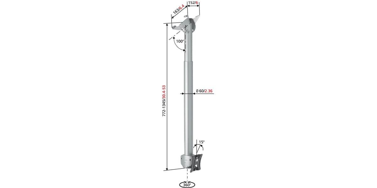 Vogel 39 s pfc918 argent supports tv plafond sur easylounge for Hauteur plafond standard