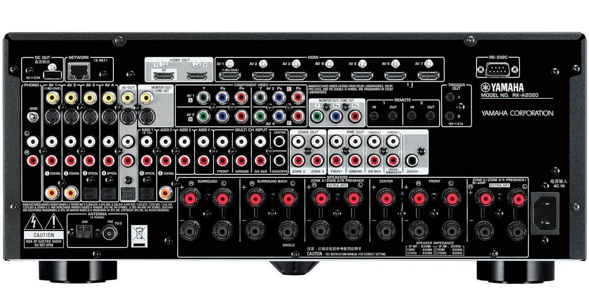 Arrière de l'ampli 9.2 Yamaha RX-A2020