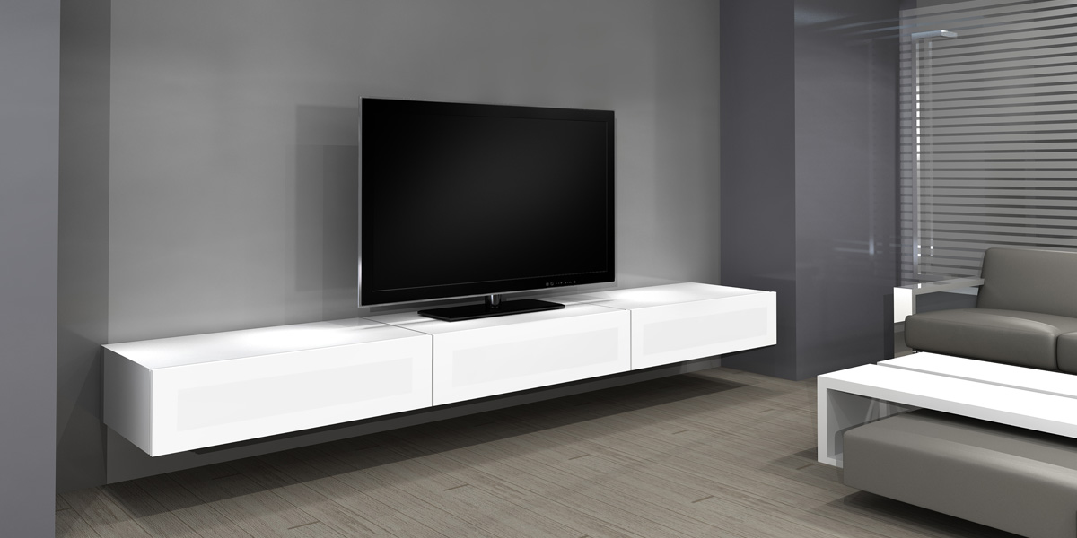 Television mural salon joy studio design gallery best - Meuble tv ecran plat suspendu ...
